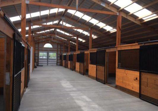 Interior Horse Barn with Skylights